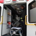 Patient is in the ambulance for transport to hospital.